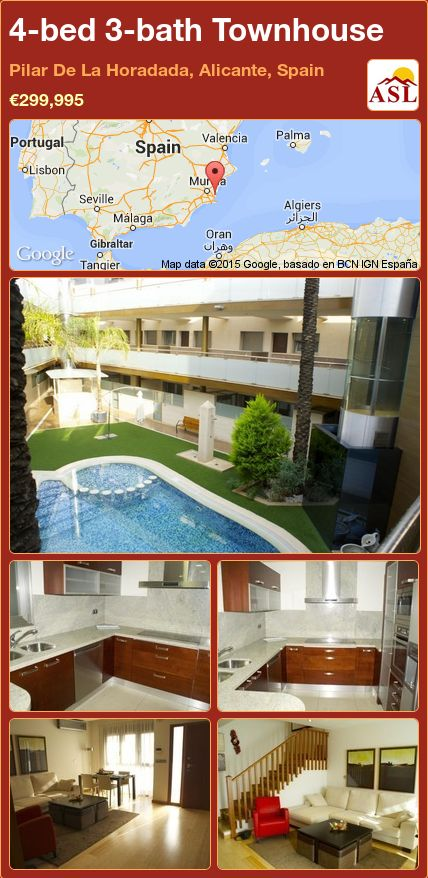 4-bed 3-bath Townhouse in Pilar De La Horadada, Alicante, Spain ►€299,995 #PropertyForSaleInSpain