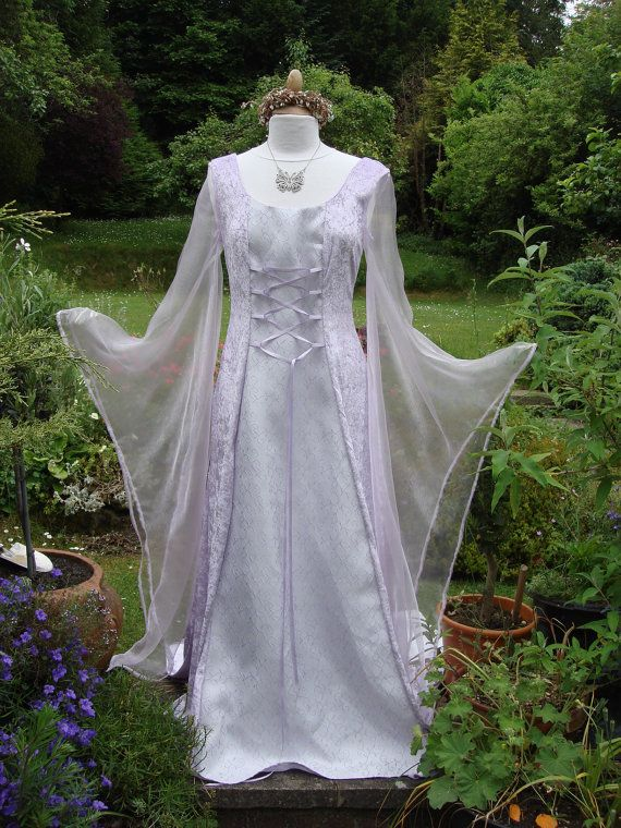 Bespoke One Off Lilac Fairy Elven Lotr Renaissance Meval Pagan Handfasting Gown Uk