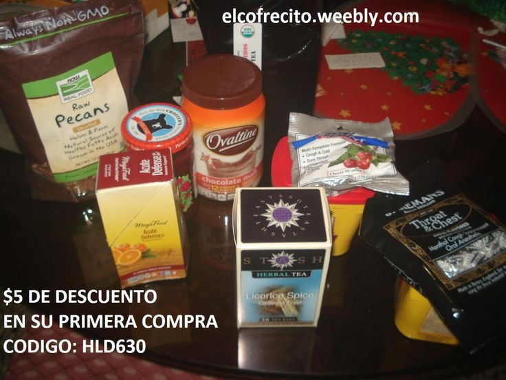Mi pedido de iherb: te de #regaliz, te #organico de #rooibos, #vitaminas para subir las defensas con #equinacea y #sauco, pastillas para la garganta, #cocoa #Nestle, #polvo de #malteada de #chocolate #Ovaltine, #pacanas y #mermelada de #frambuesas #organica.