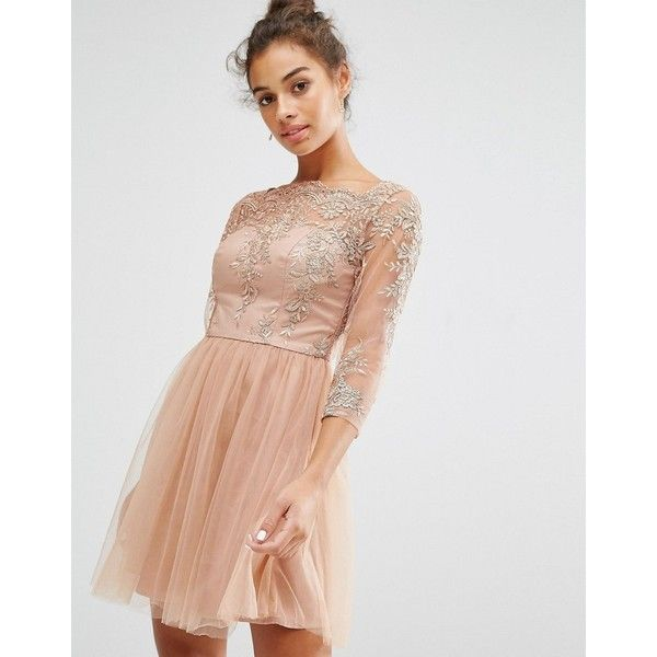 Chi Chi London Petite Allover Premium Embroidered Lace Mini Dress With... ($84) ❤ liked on Polyvore featuring dresses, petite, tan, short dresses, tulle cocktail dress, high neck cocktail dress, high neck dress and tan lace dress