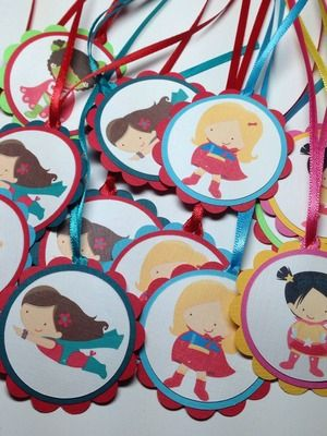Superhero Favor Tags for Girls Birthday Party