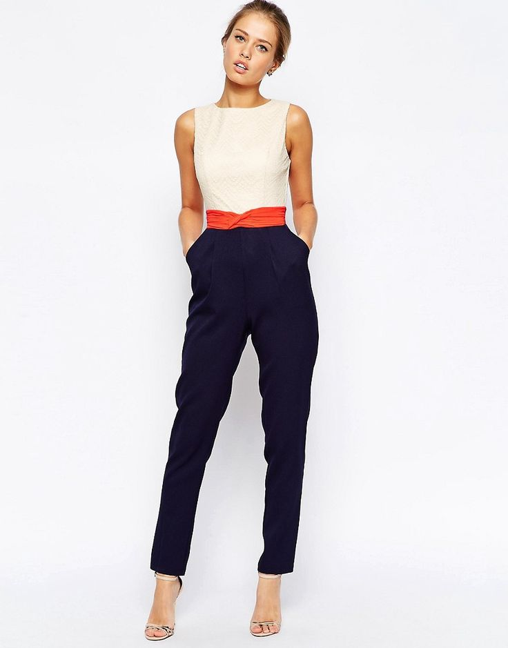 Image 1 of Little Mistress Color Block Jumpsuit                                                                                                                                                                                 More