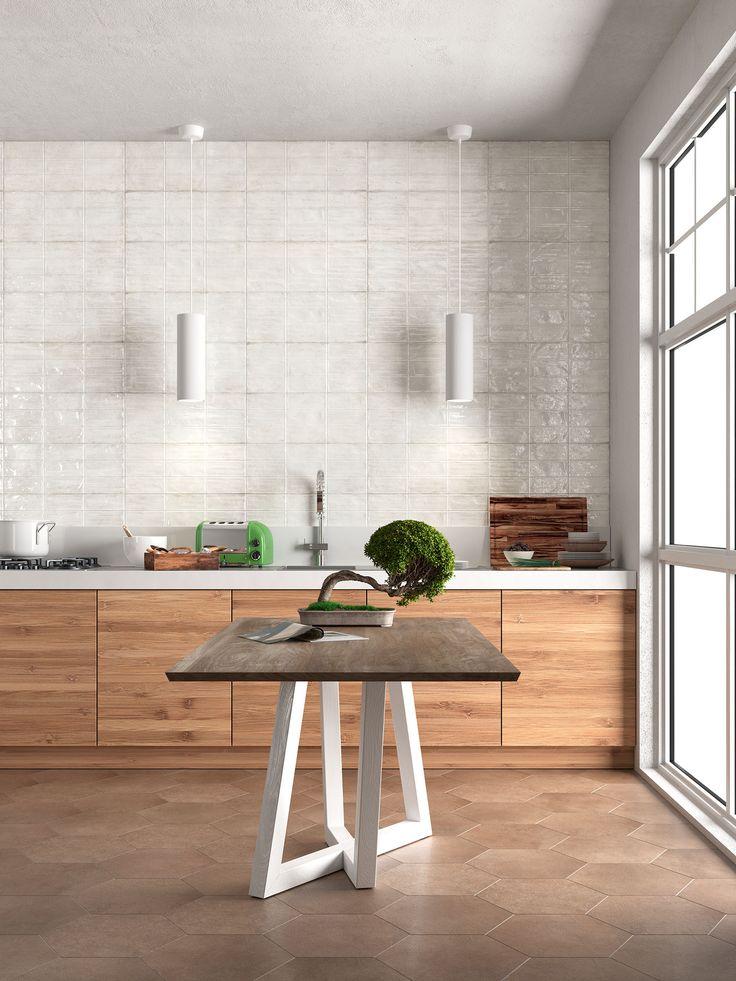 Kitchen_Herberia Be Unique  Wall brick cipria lucido 25x60 Floor Timeless ecru esagona L20