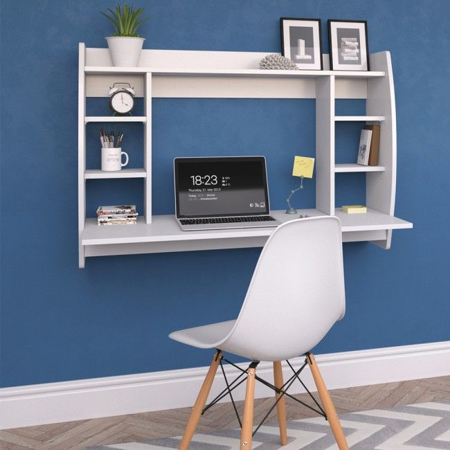 Floating Wall Mounted Desk Office Computer Table White H4home Furnitures Small Computer Desk Computer Desk In Bedroom Wall Mounted Desk
