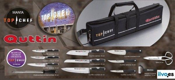 """La manta de cuchillos Top Chef de Quttin 2015, va a estar formada por 12 piezas, tres piezas más que en las dos temporadas anteriores. Además de incluir 6 cuchillos de la serie """"Moaré"""", la chaira, la tijera de cocina y el pelador oscilante, incluye tres nuevos cuchillos de la línea de hogar """"Delice"""" fabricados en acero 3Cr13 y mango de PP. http://www.ilvo.es/es/new/nuevos-cuchillos-oficiales-quttin-para-top-chef-20"""