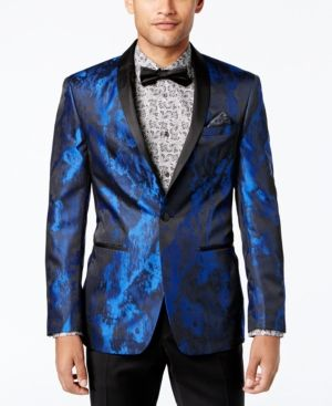Tallia Orange Men's Big & Tall Slim-Fit Electric Blue/Black Abstract Dinner Jacket - Blue 46L