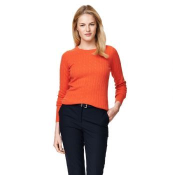 Gant Women's Stretch Lambswool Cable Crew Jumper Paprika