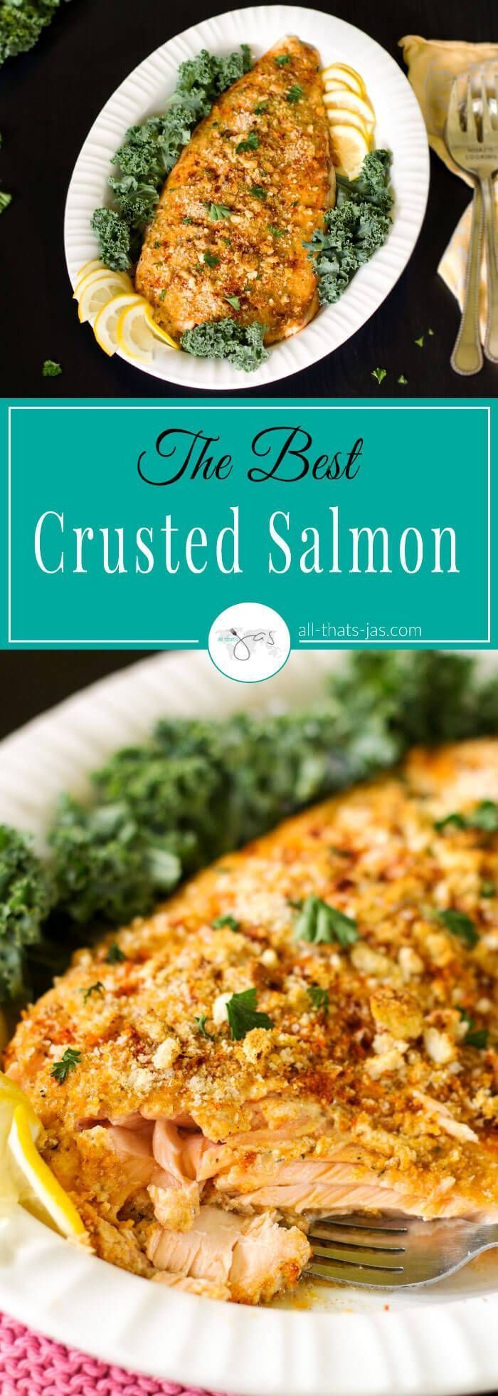The best crusted Atlantic salmon recipe with spicy, smoky crust using mayo, croutons, parmesan, and herbs is easy to make and perfect for holidays, company or your weekday dinner.