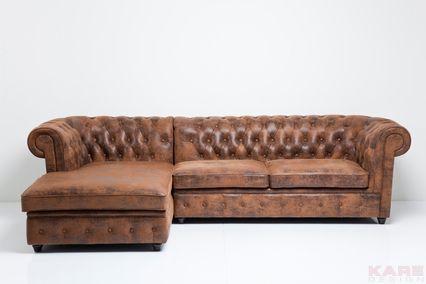 Kare design ~ Corner Sofa Oxford 3-Seater+Recamiere Vintage Eco