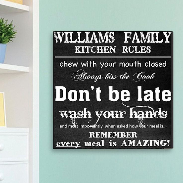Family Kitchen Rules Print on Canvas | Personalized Wall Art 14x14