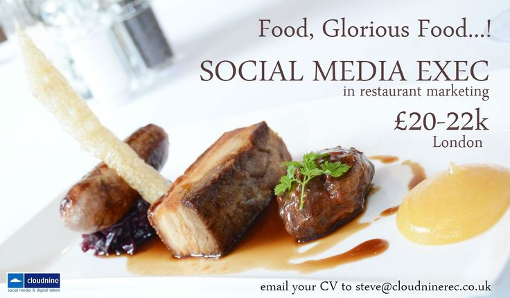 Consider yourself a #foodie? Savvy when it comes to #socialmedia? We want to hear from you! Social Media Exec £20-22k