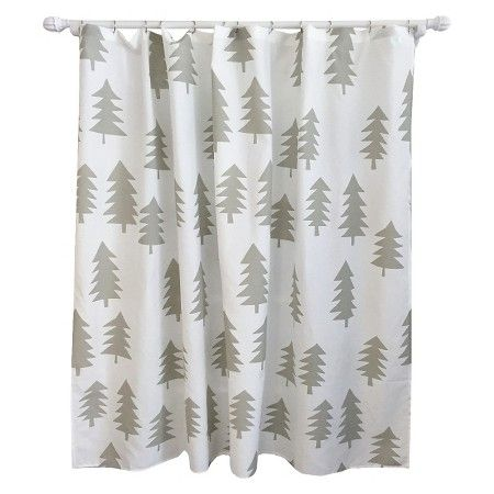 Tree Shower Curtain Calm Gray