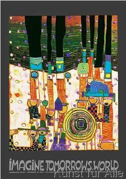 Friedensreich Hundertwasser - imagine tomorrows world (orange Version) - nach 944 blue blues