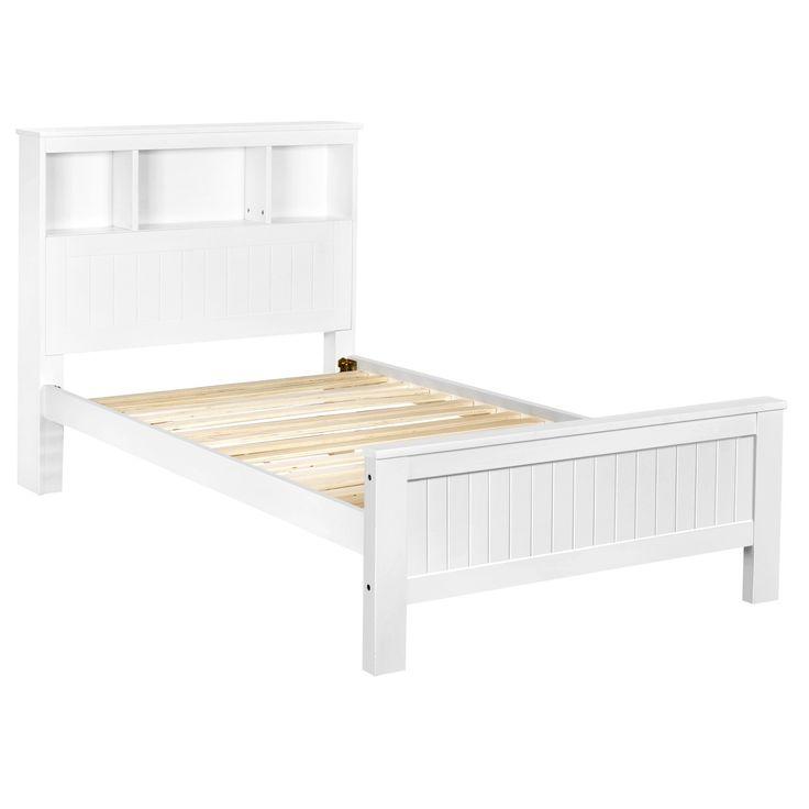 King Single Bed Frame w/ Bookcase Foldaway Shelf