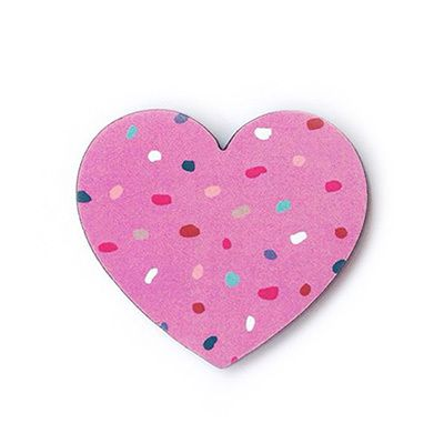 Love You To Bits! Limited Edition Heart Brooch by Each to Own and Ma and GrandyThis little paper and wood brooch measures 5.5cm wide and features a magenta dotty print by Ma and Grandy.Perfect on your favourite cardigan, jacket or blouse or a gift for someone you love to bits!Each brooch is lovingly made in Brisbane Australia from an original Each To Own wooden brooch using Tasmanian Myrtle. The backing card and dotty prints are designed by Ma and Grandy.Available ...