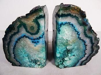 teal agate bookends
