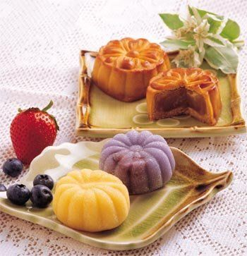 Chinese moon cake. These tasty little cakes are everywhere in August; they're most commonly made with lotus root filling and sometime an egg yolk in the center.