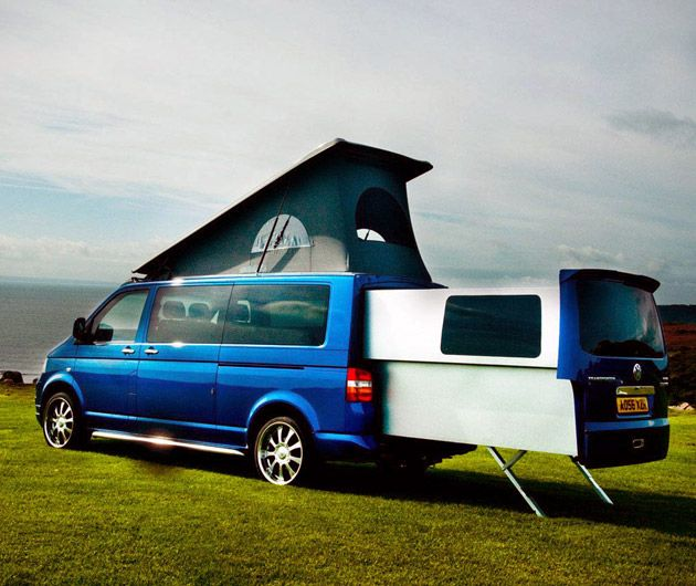 Based On The VW Transporter DoubleBack Is A Customized Camping Van With Extendable Passenger Compartment That Doubles Space Within Vehicle