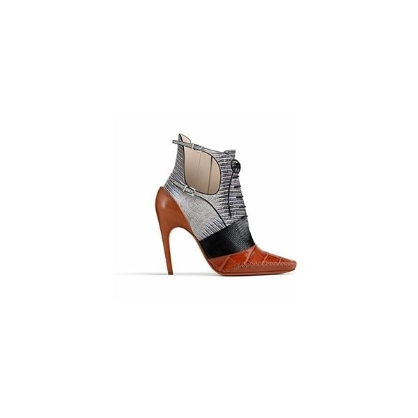 COGNAC CALFSKIN ANKLE BOOT, 10 CM ❤ liked on Polyvore featuring shoes, boots, ankle booties, cognac booties, leather calf boots, cognac ankle booties, calfskin boots and bootie boots