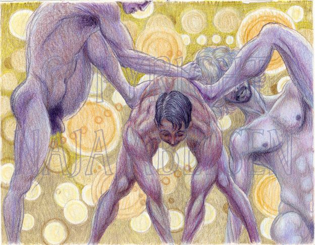 Dancing in circling Light, colour pencil by Naja Abelsen. THE DANCE! - www.123hjemmeside.dk/NajaAbelsen. Available as A3-photoprint 400 DKK / 54 Euro.