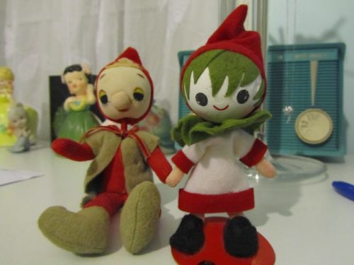 VTG Christmas Elf or Santa Felt wire 40's 50's GIRL AND BOY