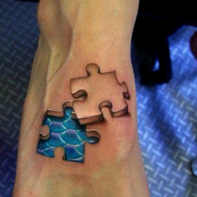 Very interesting.: Autism Tattoo, Tattoo Ideas, Puzzles Pieces, 3D Tattoo, 3Dtattoo, Feet Tattoo, A Tattoo, Mermaids Tattoo, Cool Tattoo