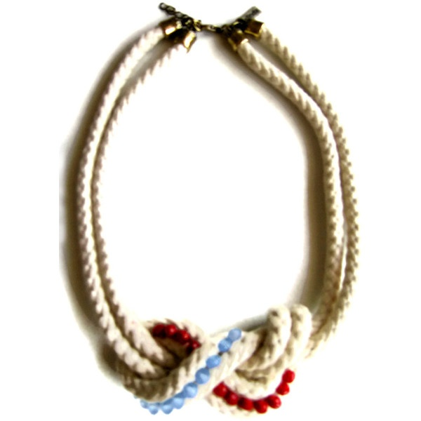 Nautical rope statement necklace figure 8 knot with by maslinda ($65) via Polyvore