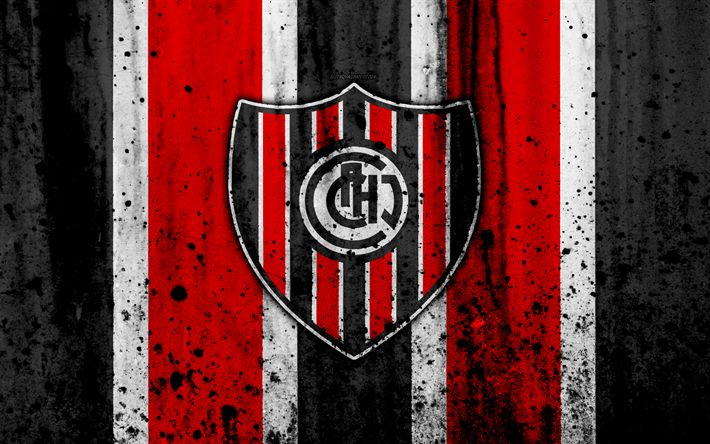 Download wallpapers 4k, FC Chacarita Juniors, grunge, Superliga, soccer, Argentina, logo, Chacarita Juniors, football club, stone texture, Chacarita Juniors FC