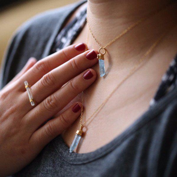Rough Aquamarine Necklace, Raw Aquamarine Pendant, Rough Layered Necklace, Raw Layered Pendant, Raw Boho Necklace, Rough Layering Necklace