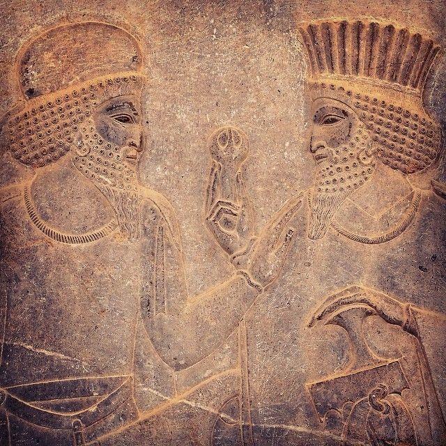 - 'I'll give you a flower if you stroke my beard …' - 'Deal' (Detail of a bas-relief at Apadana, Persepolis, Iran) #iran #iranian #persia #persian #achaemenid #persianempire #persepolis