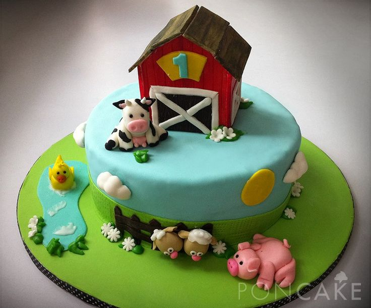 Farm Animals 1st Birthday Cake - Torta Primer Añito Animales de la ...