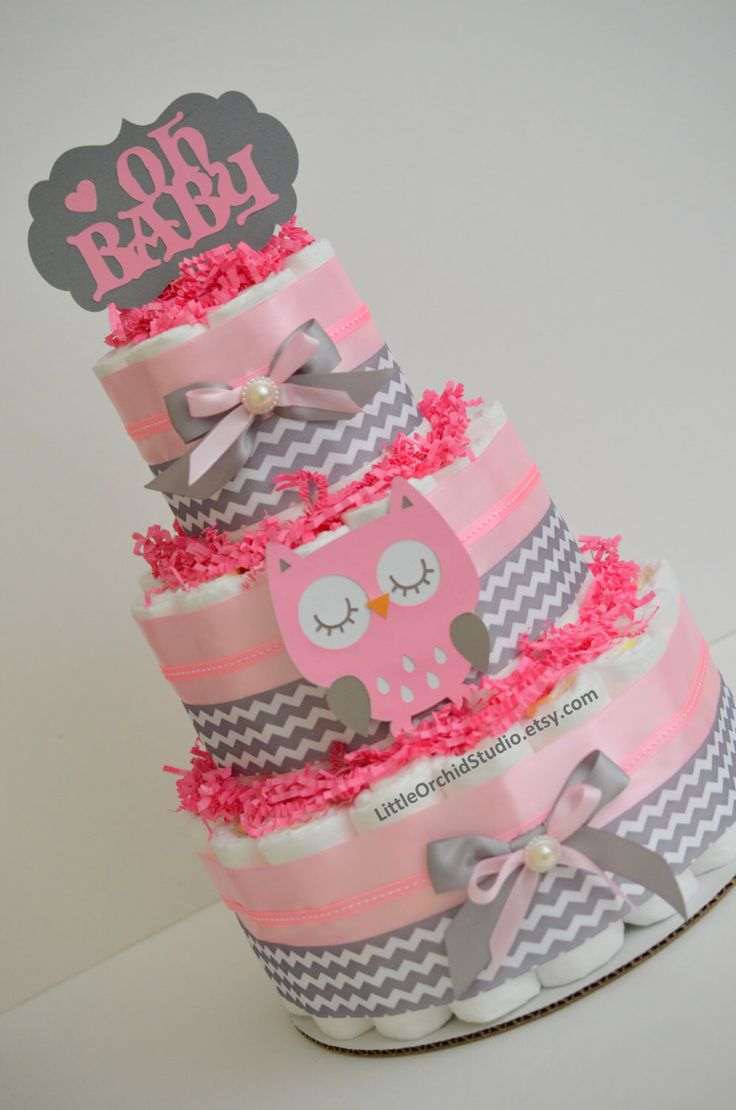 Owl baby shower/ Pink owl diaper cake/ owl diaper cake/ pink grey chevron diaper cake/ Girl baby shower/ Baby girl diaper cake/ oh baby by LittleOrchidStudio on Etsy https://www.etsy.com/listing/470942551/owl-baby-shower-pink-owl-diaper-cake-owl