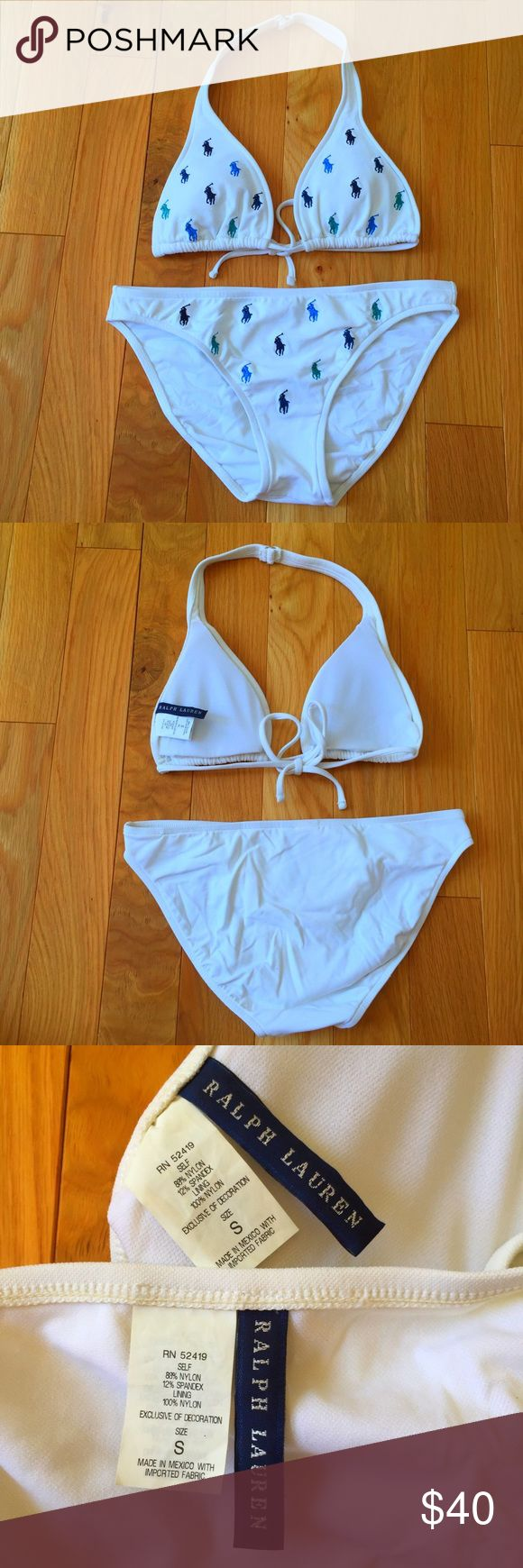 RALPH LAUREN BIG PONY BIKINI A white bikini from the Ralph Lauren Polo Big Pony Collection. It has green, blue, teal, and navy horse / pony / logos on the top and bottom. So cute and comfy and very flattering. Padded top, but it can be removed. String triangle bikini top. Good coverage on the bottoms, not cheeky but also not like a diaper! Top Retail: $75.00 + S&H Bottoms Retail: $75.00 + S&H — 📦 Trades? Ask! 📲 PayPal? Rarely, but ask! 💻 NO MERCARI/VINTED. 🚬 SMOKE FREE HOME. 💯…