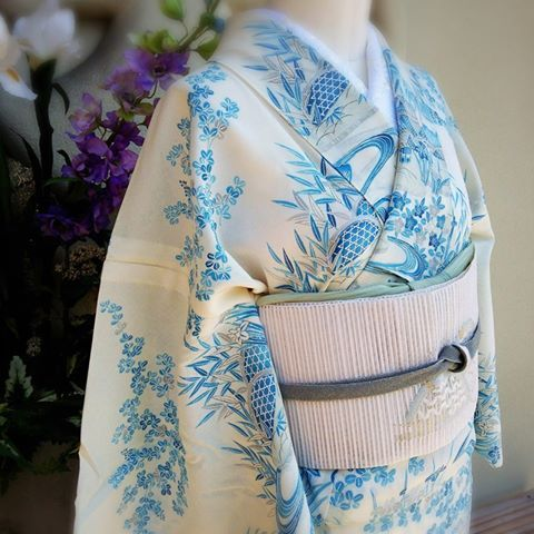Beautifully simple blue on white kimono