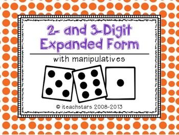 This {Freebie} has students using dice to practice writing 2- and 3-digit numbers in word form, standard form, expanded form, and using base ten blocks. This activity can be used as a station during math workshop or partner work during a lesson.  Let me know what you think!