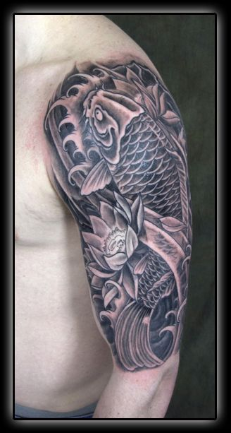Nice black and grey koi.