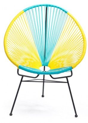 Suitable to be used in indoor and outdoor environments,  Galvanised Powder Coated Steel Frame, UV Resistant plastic cane weaved chair, Dimensions : 70cm width x 90cm height x 70cm depth Colour : Blue and Yellow, Also available Replica Acapulco side table,