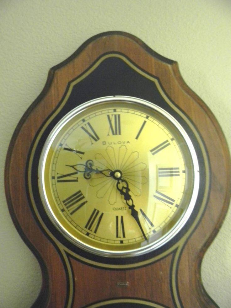 VINTAGE BULOVA WALL CLOCK & BAROMETER ENGLAND WOOD & BRASS Cutter Gt Britain Qtz