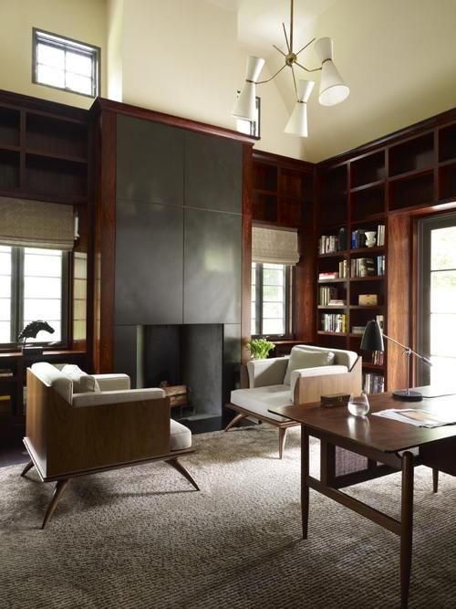 sleek, warm & contemporary :: Scardsdale, NY, library by Eve Robinson Associates.