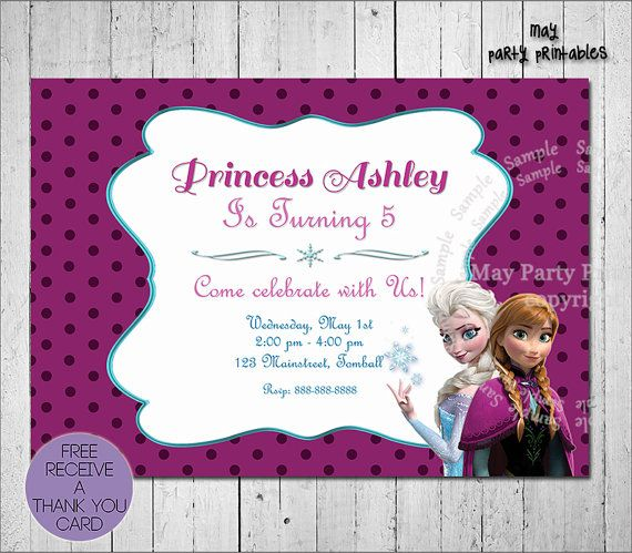 Frozen Invitation  Free Thank you card by MayPartyPrintables, $6.00
