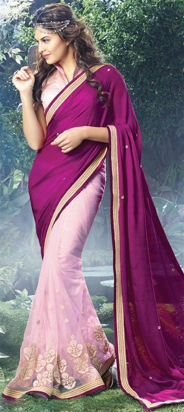 153523: Pink and Majenta, Purple and Violet color family Saree with matching unstitched blouse.