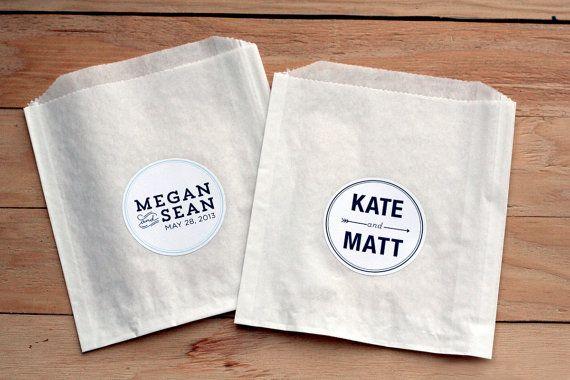 100 Custom Wedding Stickers / Favor Bags / Personalized Stickers / Paper Bags / Wedding Favor / Cookie Bags / Custom Stickers / Personalized