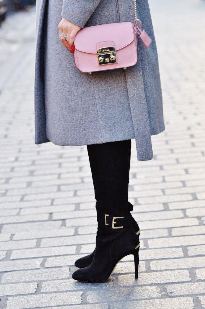 zamszowe kozaki Michael Kors, style, fashion, stylizacja, Mango, grey, szary, Furla, bag