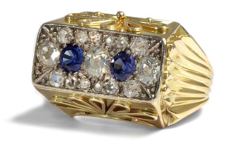 Aufregender, dynamischer Diamant & Saphir-Ring des Art Déco, um 1940 • Hofer Antikschmuck