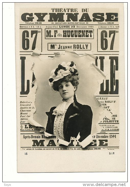 Jeanne Rolly | Affiche Pub Theatre Gymnase 38 Bd Bonne Nouvelle Paris 10 Felix Huguenet Jeanne Rolly