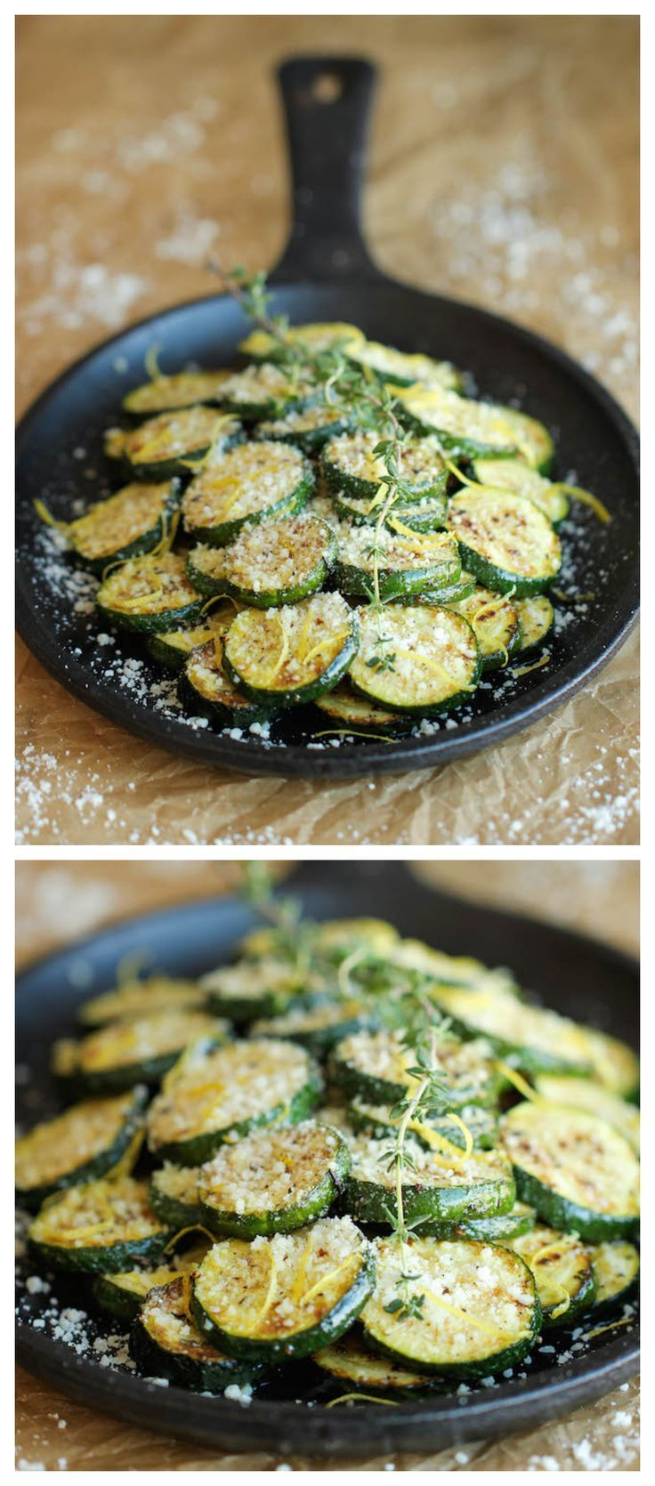 Parmesan Lemon Zucchini - The most amazing zucchini dish made in just 10 min. It's so easy, you'll want to make this every single night! Veganize!