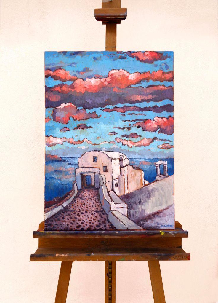 Santorini - Before Sunset - Oil on canvas, 50cm x 70cm #santorini #sunset #oil_painting #before_sunset Δείτε τη μετάφραση