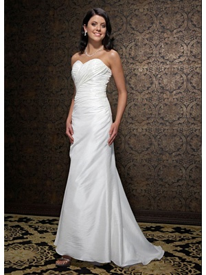 Sheath / Column Strapless Sweetheart Dropped Satin Taffeta Wedding Dress