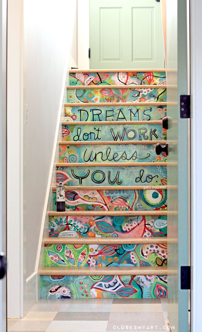 "Stair art hand painted on 3/8"" MDF and then installed.  Much easier (and less permanent) than painting directly on the stair risers!  By Michelle Allen"