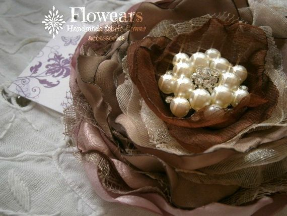 Fabric flower in chocolate brown and mauve wedding by Flowears, $18.50